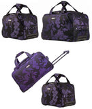 "Highbury Plum Jacquard Print in 18"" and 24"" Stylish Travel Wheeled Holdalls"