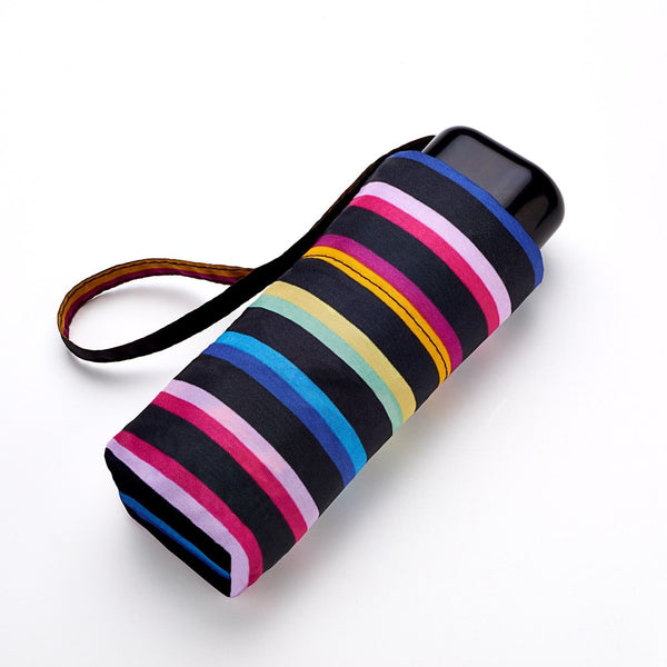 Ladies Mini Flat Rainbow Stripe Compact Lightweight Umbrella