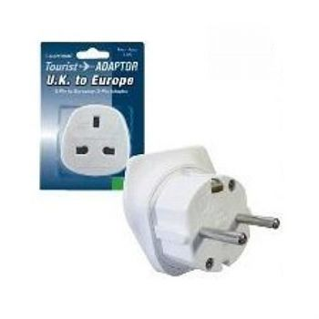 Lloytron UK 3-Pin to European 2-Pin Continental Travel Adaptor - Pack of 10