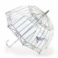 Lulu Guinness by Fulton Birdcage Clear Dome Umbrella