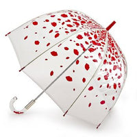 Lulu Guinness by Fulton Ladies Clear Dome Umbrella Raining Lips