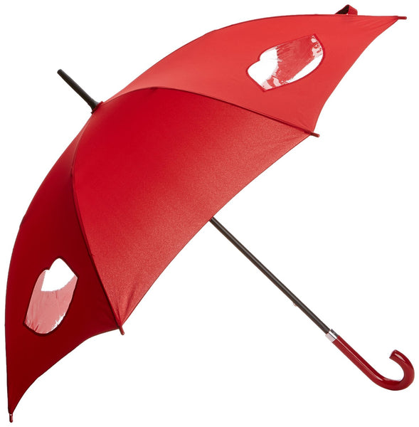 Lulu Guinness by Fulton Ladies Kensington-1 Long Umbrella Cut Out Lips