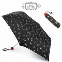 Lulu Guinness Kooky Cat Minilite Folding Umbrella Compact Handbag Size With Cover