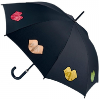 Lulu Guinness Rainbow Lips Kensington Walking Length Umbrella