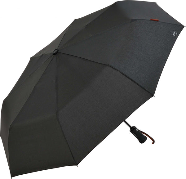 M&P Mens Women Auto Open/Close Black Folding Umbrella with Built-in Torch