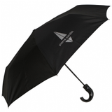 Pierre Cardin Gents Auto Open Short Round Crook Handle Silver Design Umbrella in Black