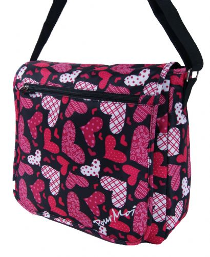 Pour Moi Large Love Heart Design Flap Over Dispatch Messenger Bag/ Baby Bag