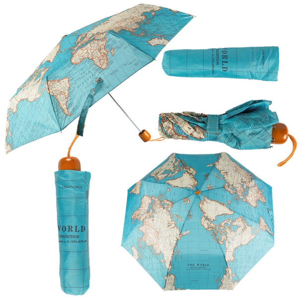 Sass & Belle Vintage Map Compact Folding Umbrella