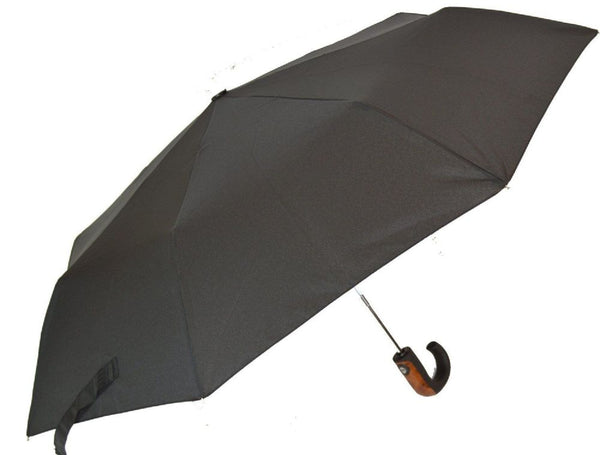 Soake Mens Auto Compact Umbrella with Wood Effect/Metal Crook Handle