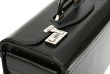 Tassia Black Bonded Leather Pilot Case Doctor Briefcase Flight Cabin bag  Gun Metal Combination Lock