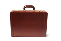Tassia Medium Bonded Leather Attache Briefcase - Luxury Suede Interior and Twin Combination Locks