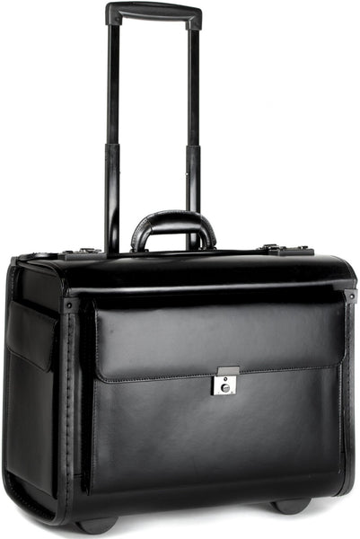 Tassia  Wheeled 19inch Laptop Pilot Case Bonded Leather Doctor Briefcase Flight Cabin Business Bag