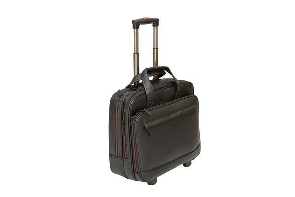 Tassia Wheeled Leather Look Laptop Trolley Case 15.6 Computer Briefcase