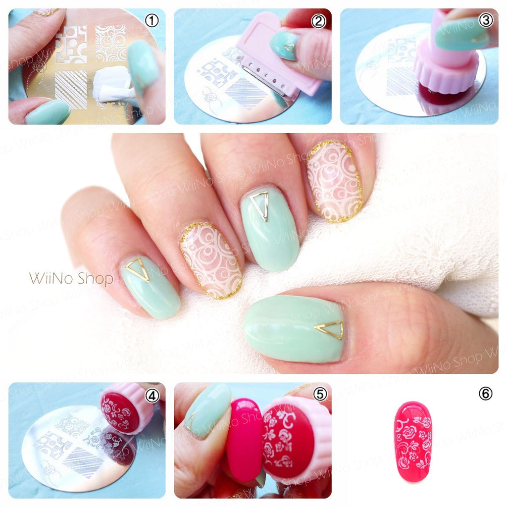 Om 40 nail art stamping plate template wiino shop om 40 nail art stamping plate template prinsesfo Image collections