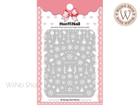 White Snowflake Adhesive Nail Art Sticker - 1 pc (HAXX-024)