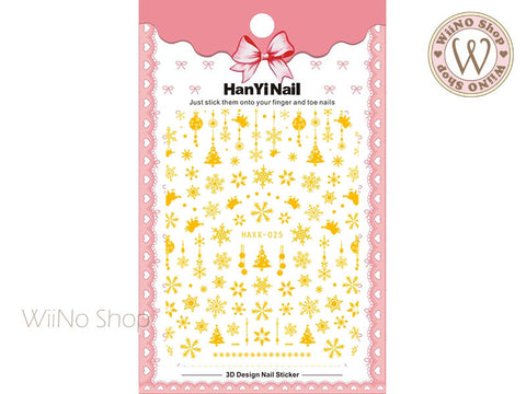 Gold Snowflake Adhesive Nail Art Sticker - 1 pc (HAXX-025)
