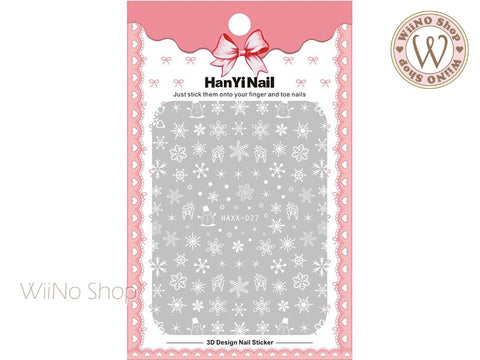 White Snowflake Adhesive Nail Art Sticker - 1 pc (HAXX-027)