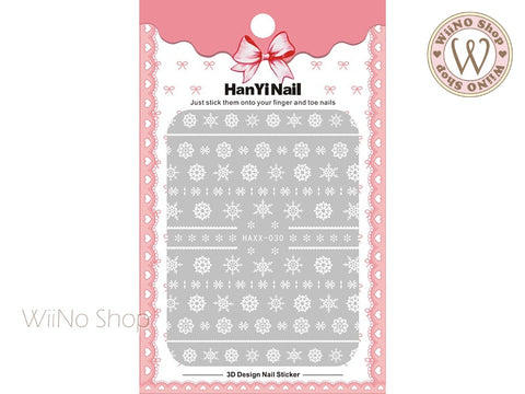 White Snowflake Adhesive Nail Art Sticker - 1 pc (HAXX-030)