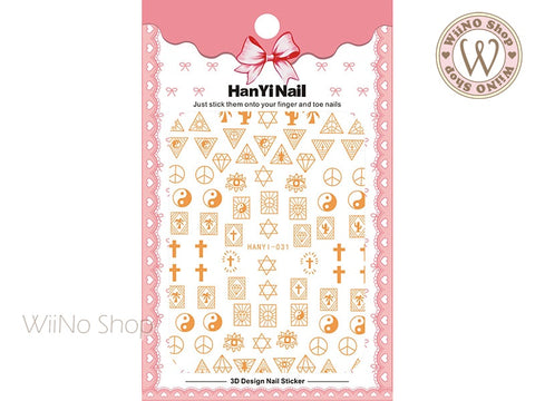 Gold Symbol Adhesive Nail Art Sticker - 1 pc (HY-031)