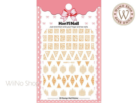 Gold Marble Pattern Adhesive Nail Art Sticker - 1 pc (HY-032)