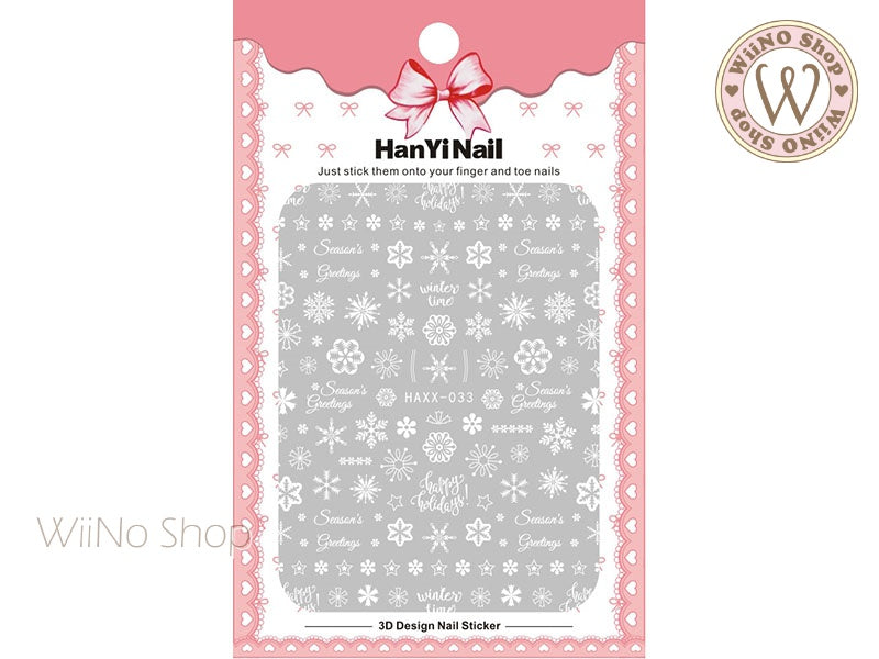 White Snowflake Adhesive Nail Art Sticker - 1 pc (HAXX-033)