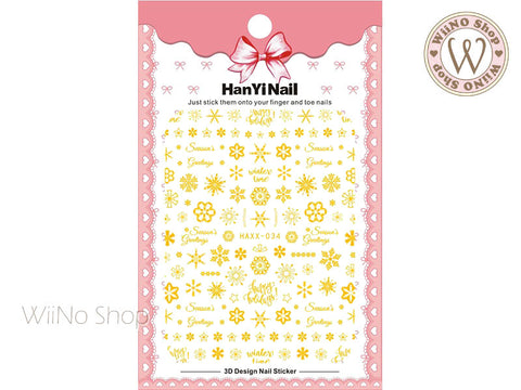 Gold Snowflake Adhesive Nail Art Sticker - 1 pc (HAXX-034)