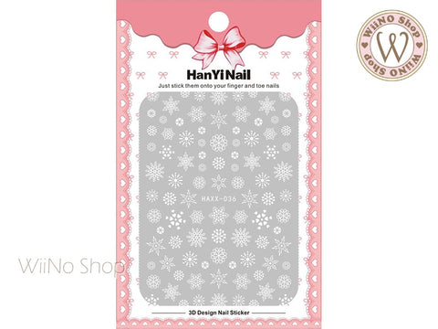 White Snowflake Adhesive Nail Art Sticker - 1 pc (HAXX-036)