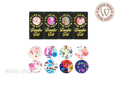 Flower Printed Transfer Foil Nail Art Decoration (C)