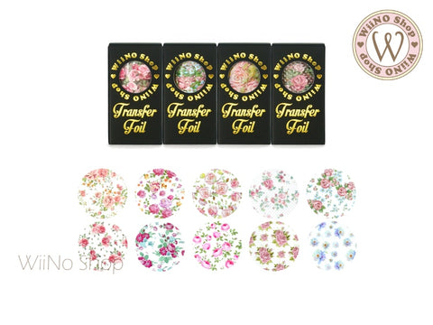Vintage Flower Printed Transfer Foil Nail Art Decoration (V)