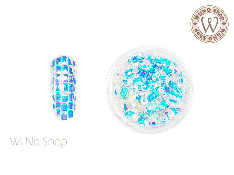2.5 x 3.5mm 3D Rainbow White Sparkle Octagon Glitter (KOT01)