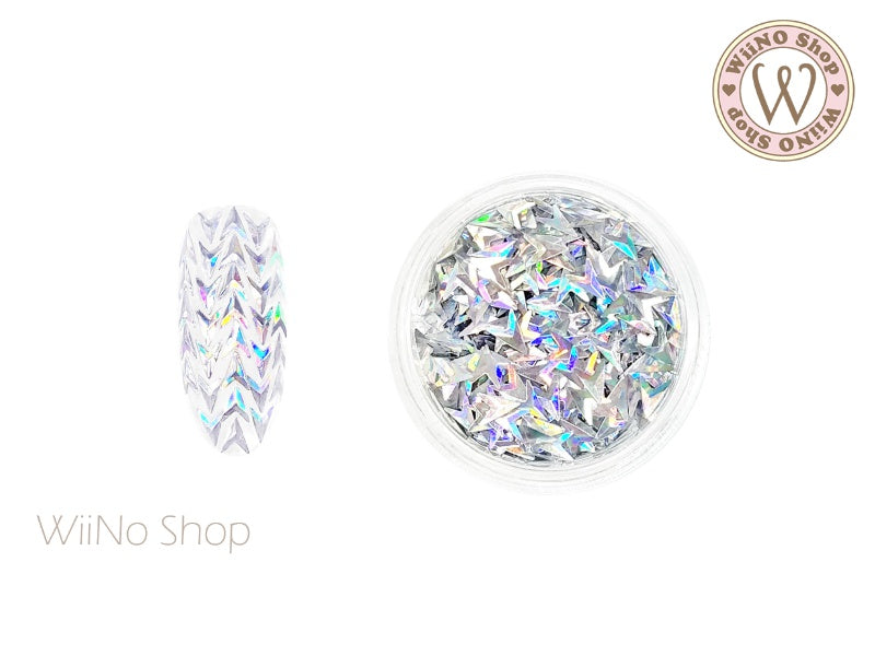 3 x 4mm 3D Silver Holographic Arrow Glitter (KAR05)