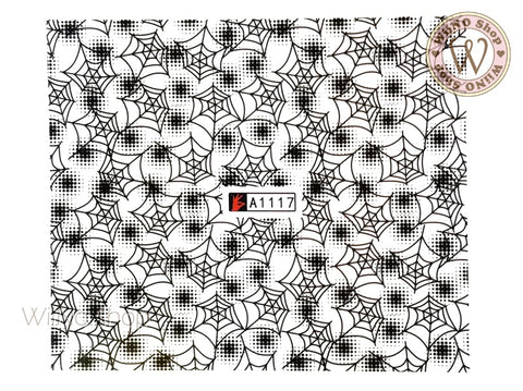Spider Web Water Slide Nail Art Decals - 1pc (A1117)