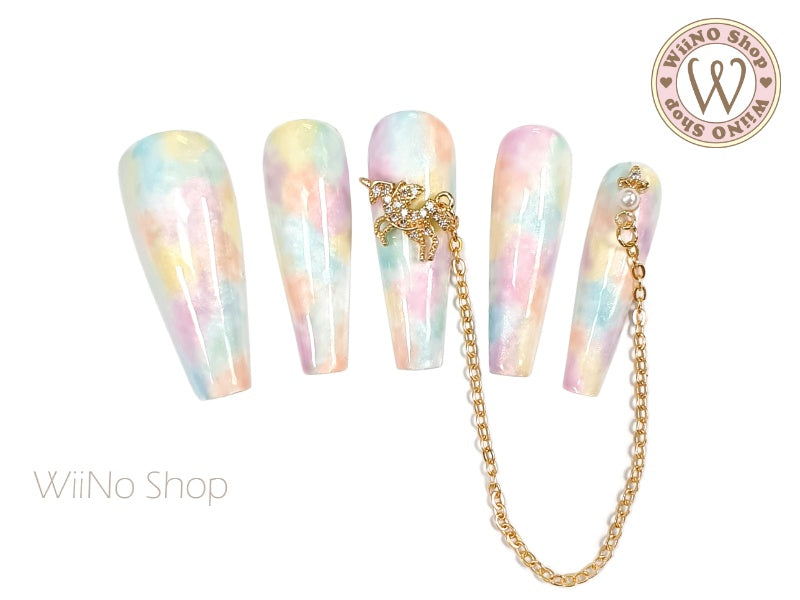 Unicorn Crystal Cluster Nail Jewelry Charm with Chain - 1 pc