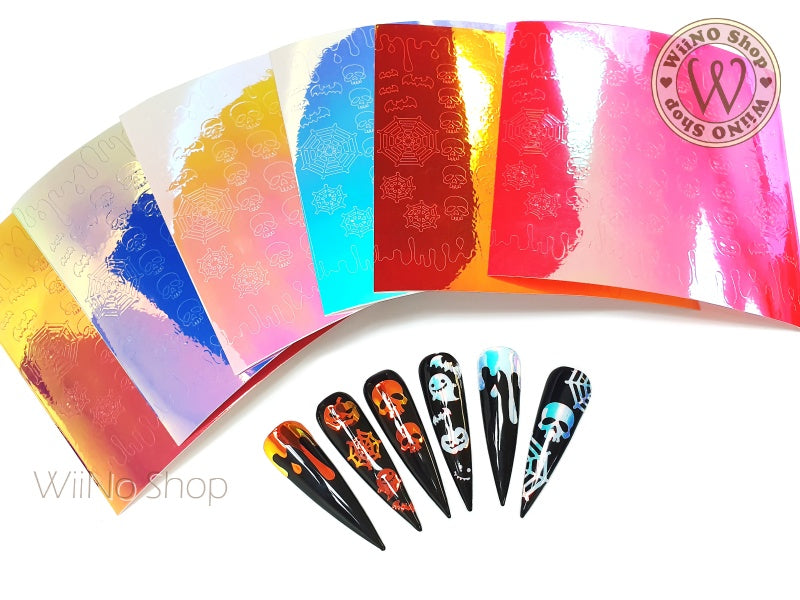 Skull Halloween Opal Holographic Adhesive Nail Art Sticker - 1 pc