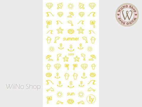 Gold Summer Adhesive Nail Art Sticker - 1 pc (LY-1009)