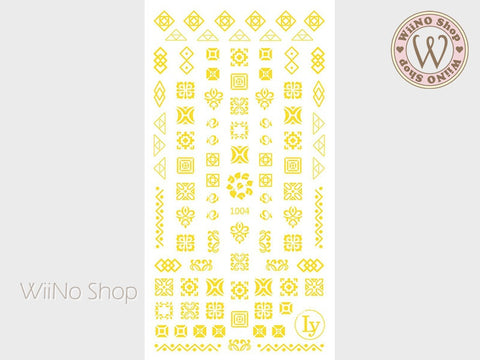 Gold Pattern Adhesive Nail Art Sticker - 1 pc (LY-1004)