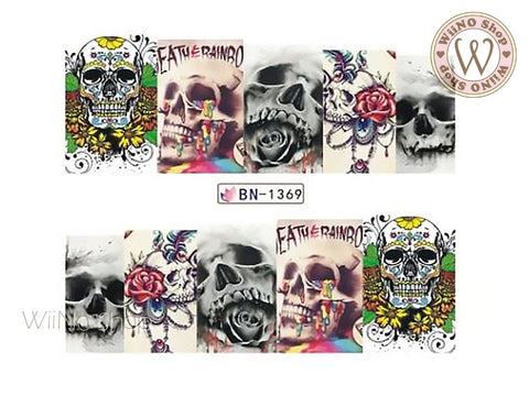 Variety Skull Water Slide Nail Art Decals - 1pc (BN-1369)