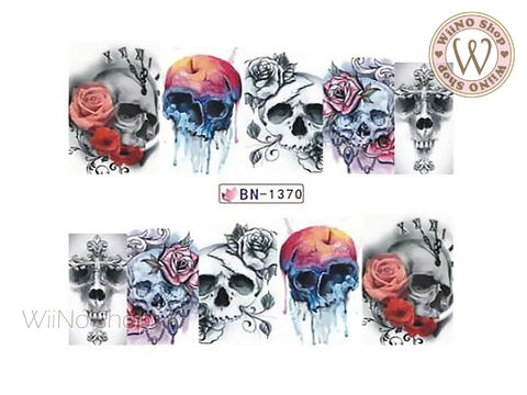 Rose Skull Water Slide Nail Art Decals - 1pc (BN-1370)