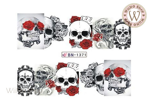 Rose Skull Water Slide Nail Art Decals - 1pc (BN-1371)