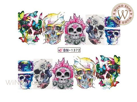 Chromatic Skull Water Slide Nail Art Decals - 1pc (BN-1372)