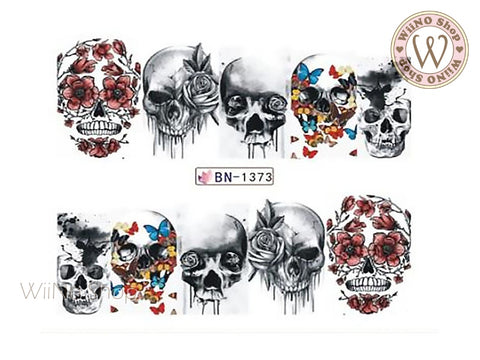 Butterfly Flower Skull Water Slide Nail Art Decals - 1pc (BN-1373)