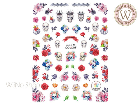 Floral Skull Adhesive Nail Art Sticker - 1 pc (CA-345)