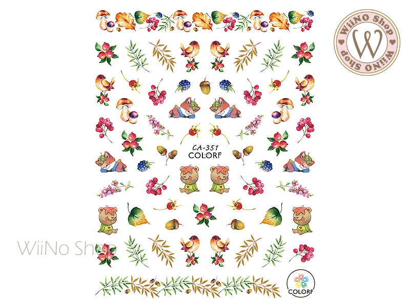 Autumn Forest Adhesive Nail Art Sticker - 1 pc (CA-351)
