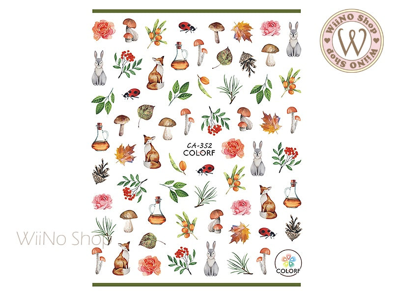 Autumn Forest Adhesive Nail Art Sticker - 1 pc (CA-352)
