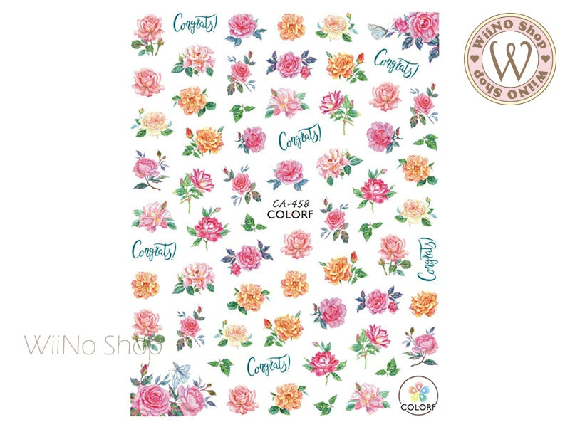 Flower Garden Adhesive Nail Art Sticker - 1 pc (CA-458)