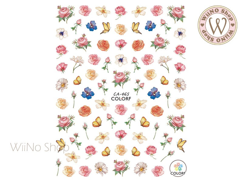Flower Garden Adhesive Nail Art Sticker - 1 pc (CA-465)