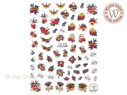 Heart Tattoo Style Adhesive Nail Art Sticker - 1 pc (CA-475)
