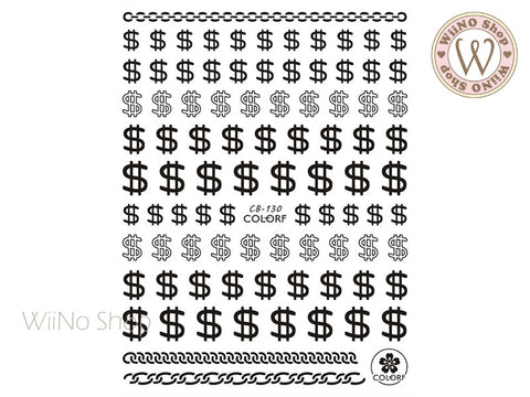 Black Dollar Sign Adhesive Nail Art Sticker - 1 pc (CB-130B)