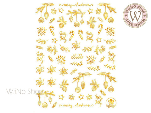 Gold Christmas Adhesive Nail Art Sticker - 1 pc (CB-144G)