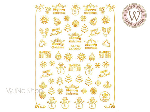 Gold Christmas Adhesive Nail Art Sticker - 1 pc (CB-146G)